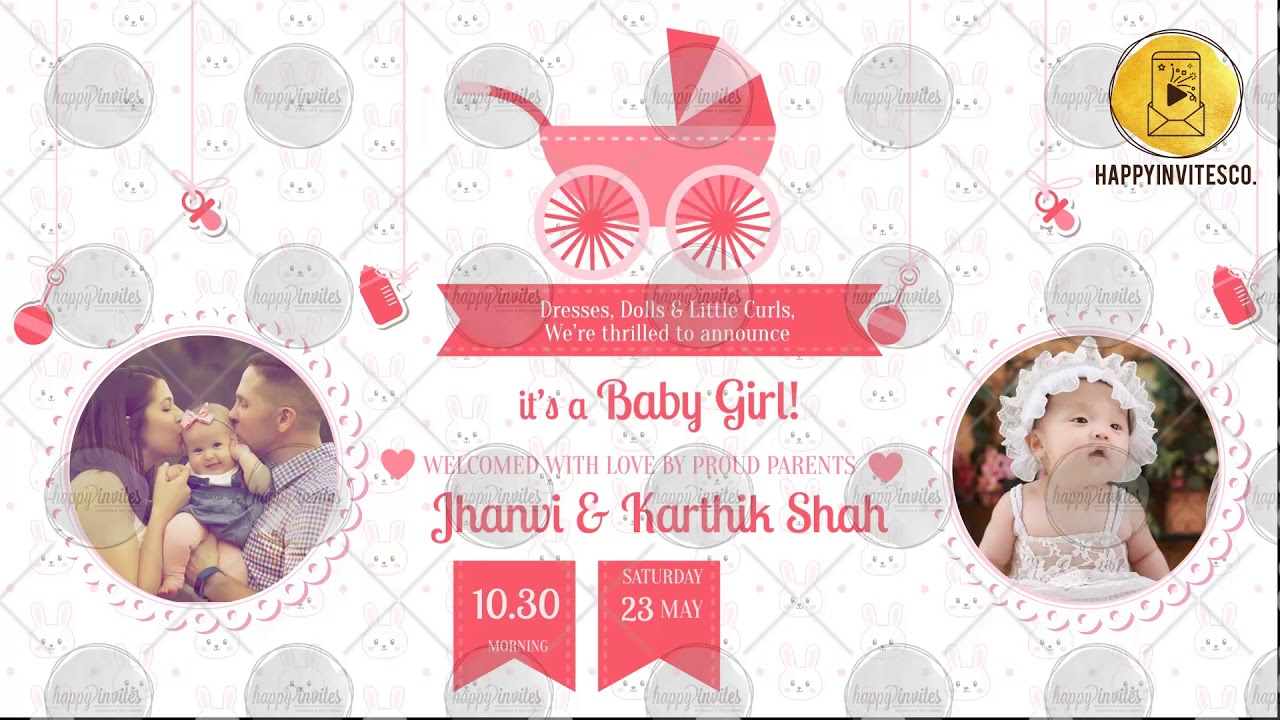 Bp07a Baby Shower Invitation For Girl Arrival Announcement