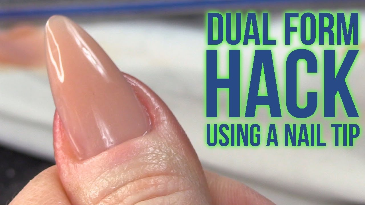 Dual Form Hack Using A Nail Tip No Filing Needed Underneath