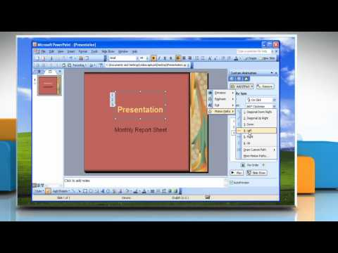 Microsoft® PowerPoint 2003: How To Animate Text In Presentation On Windows® XP