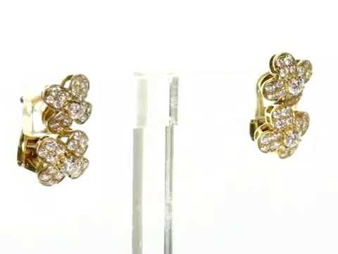 Mtsj12214 Van Cleef Arpels Trefle Diamond 18k Yellow Gold Flower Earrings