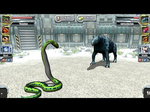 Titanoboa VS Indricotherium - Jurassic Park Builder GLACIER Tournament Android Gameplay