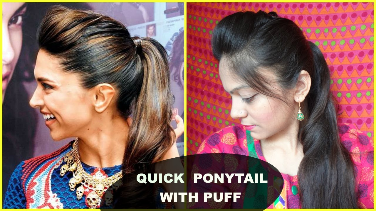 Easy Ponytail Hairstyle With Puff For School, College ...