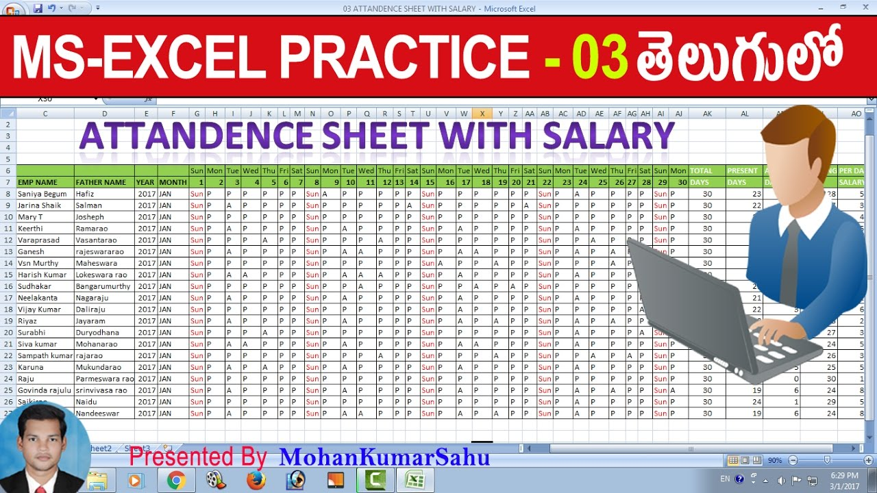 03 How To Make Attendance Salary Sheet In Excel Excel Practice
