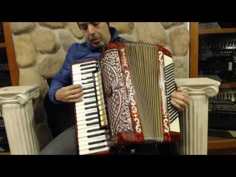 2399 - Red Sparkle Horch Piano Accordion LMMM 41 120 $1195
