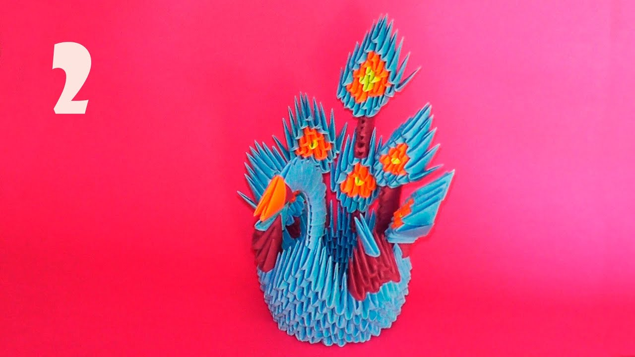 How to make 3D origami Peacock (Firebird, the king of ... - photo#43