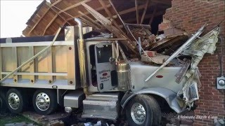 Dump Truck Crashes Into House After Being Hit by Car