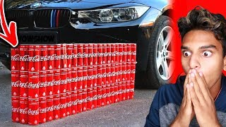 EXPERIMENT: CAR vs. 100 COCA COLA CANS! (Satisfying)