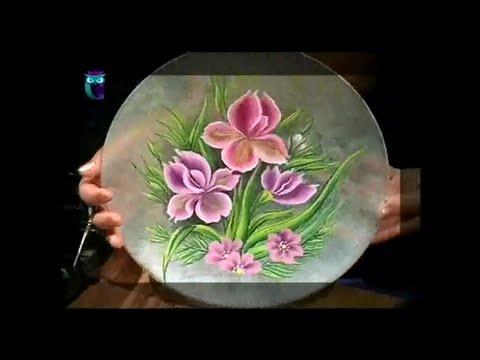 Роспись в технике одного мазка на стекле (One Stroke). Рисуем пион и ирисы. Мастер класс