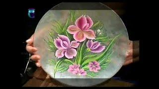 Роспись в технике одного мазка на стекле (One Stroke). Рисуем пион и ирисы. Мастер класс(Передача