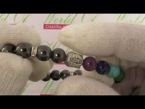 Chakra Natural Stone Buddha head Bracelet with 8mm beads.