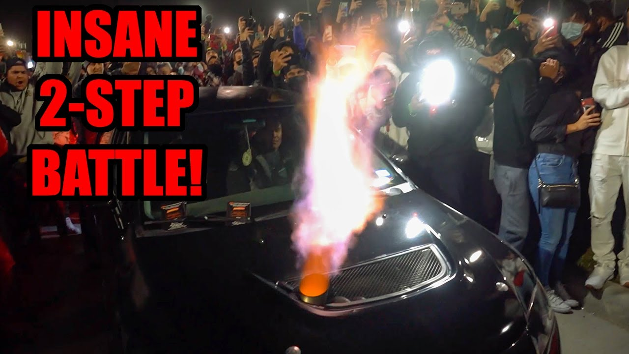 1200HP MITSUBISHI EVO DEAFENS CROWD AT WILD 2-STEP BATTLE! (Paul Walker Tribute Car Show!)