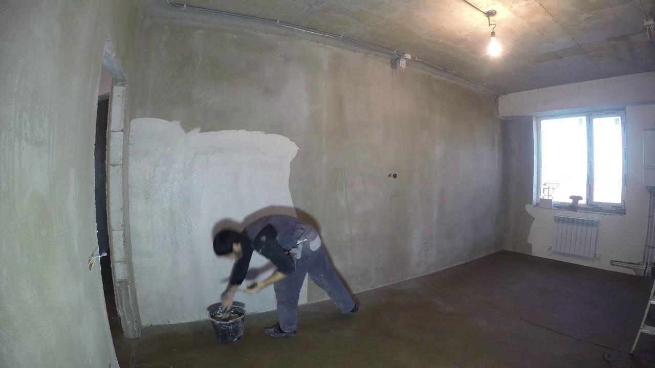 Грунтовка и шпаклевка стен, работа на строительных ходулях Дербент(TIMELAPSE)