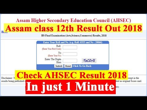 Assam HS Result Out 2018 - How to see AHSEC class 12 Result step by step 2018