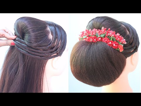 quick-bridal-hairstyle-for-short-hair-||-simple-hairstyle-||-juda-hairstyle-with-puff-||-hairstyle