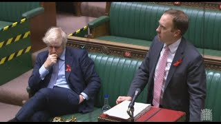 Powerful speech by the Health Minister - Johnson in subdued mood