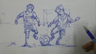 Memory Drawing football playing children