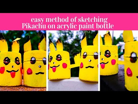 Easy Method Of Bottle Art Pikachu On Bottle Cartoon Character Reuse Of Empty Acryilic Bottle Kids Youtube