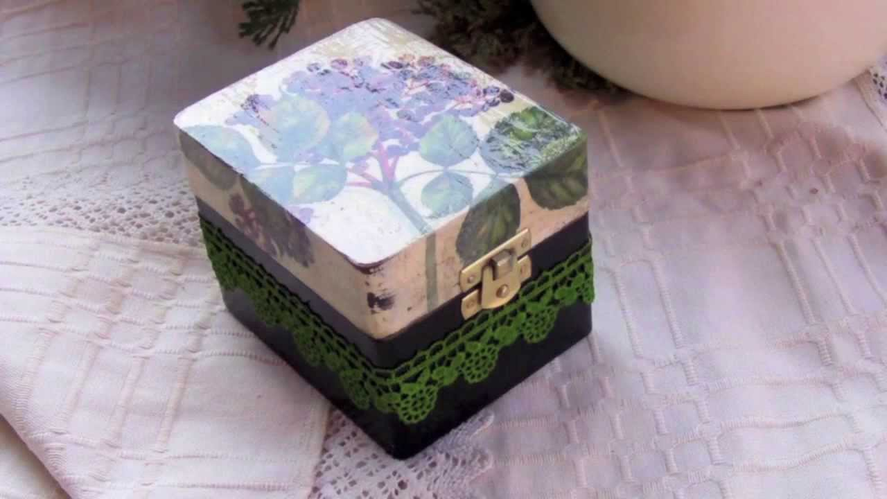 Decoupage tutorial DIY - box with dyed lace - YouTube
