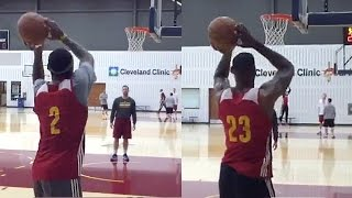 LeBron James & Kyrie Irving Try Shooting Left Handed
