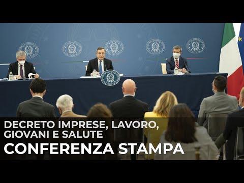 Decreto 'Imprese, Lavoro, Giovani e Salute', conferenza stampa del Presidente Draghi