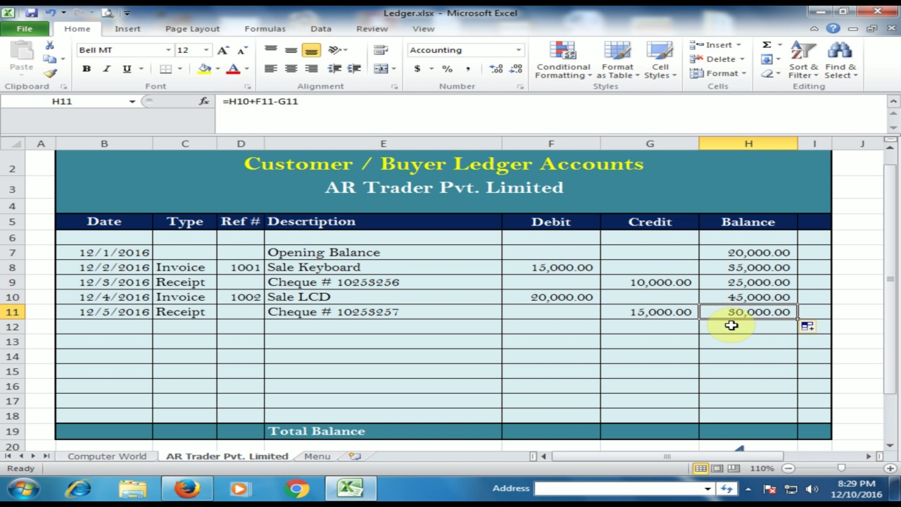 customer buyer ledger in microsoft excel ledger part 2 urdu