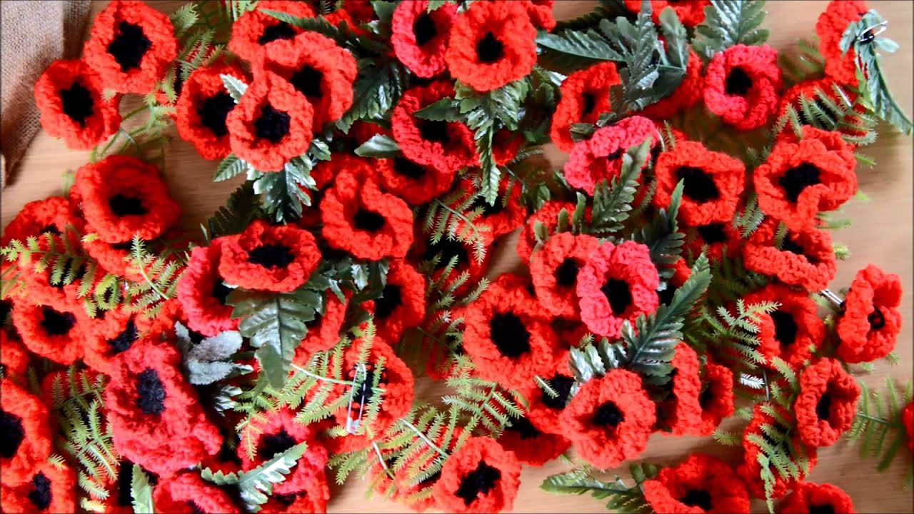 Knitted Poppy Pattern For British Legion : 2,000 poppies knitted to sell for British Legion - YouTube