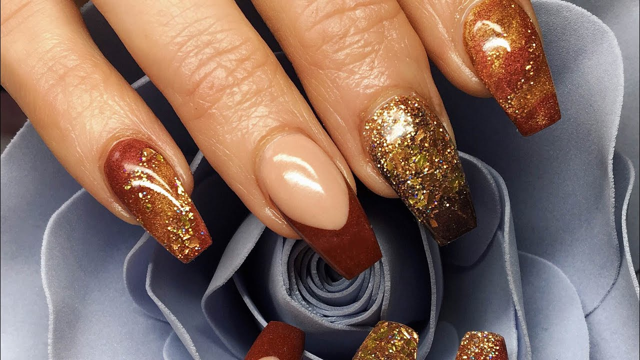 Acrylic Nails   Autumn Inspired   Bronze Beauty - YouTube