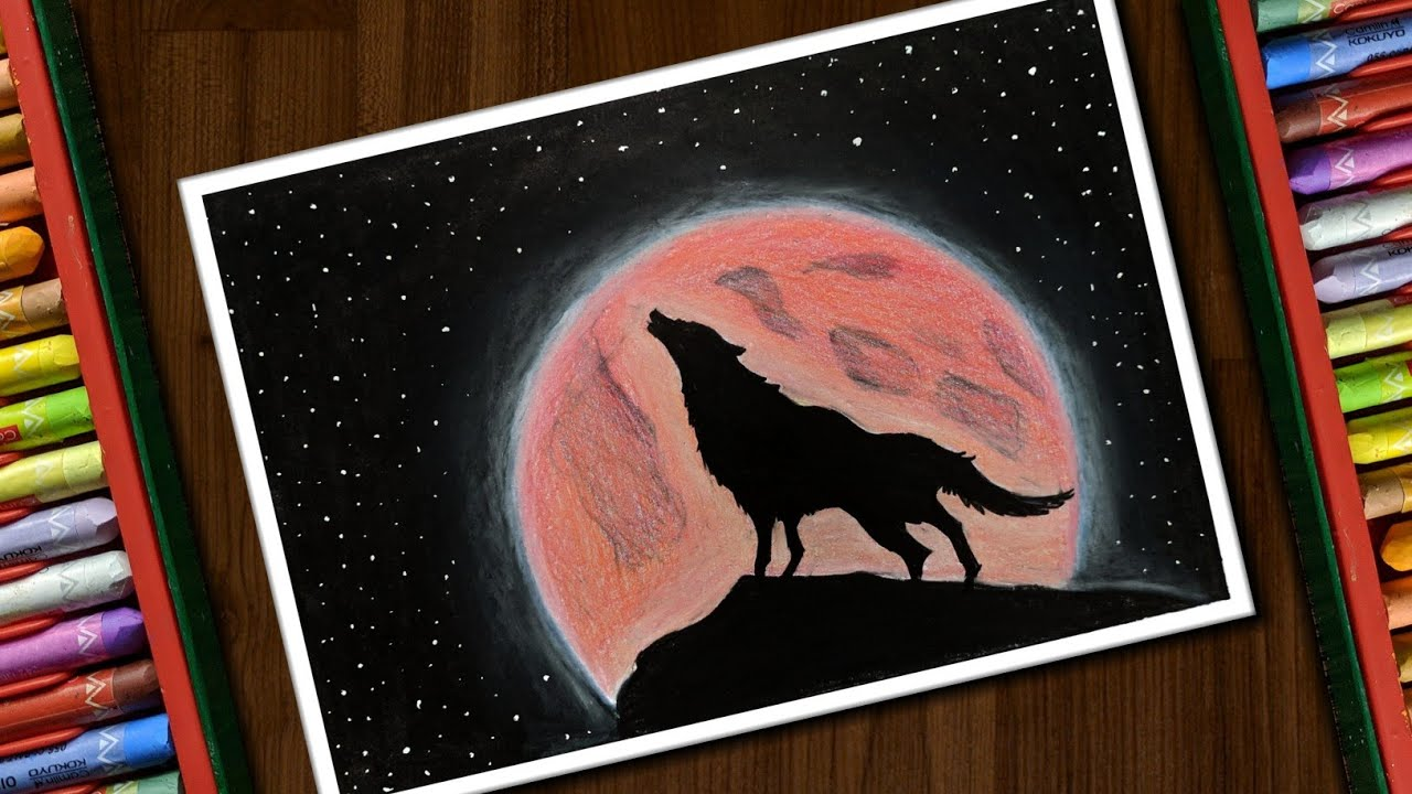 Blood Moon Drawing With Oil Pastels For Beginners Step By Step