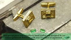 Hand made emerald cut emerald Mens yellow gold cuff links 14K