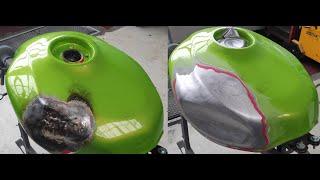 Ремонт мотоциклетного бака. Восстановление формы с помощью олова.