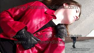 Girls red leather jacket with leather gloves review