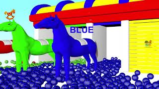 Horse and Fun Soccer in car Shand to Learn Colors for Children - 3D Kids Learning Videos