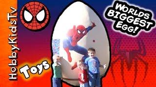 Worlds BIGGEST SpiderMan Surprise Egg! Laser Silly Web String Marvel by HobbyKidsTV