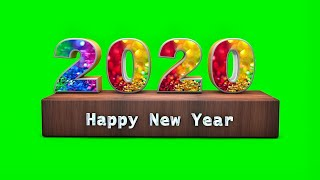 Happy New Year 2020 Green screen 3D Colorful Text Effect