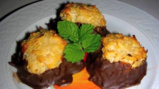 Chocolate Dipped Coconut Macaroons Recipe - Delicious Cookie Dessert