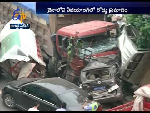 Semi-truck Crushes Vehicle in China: Several Injured