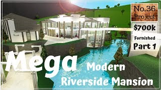 Roblox | BLOXBURG: Mega Modern Riverside Mansion (Speed build) (Part 1)