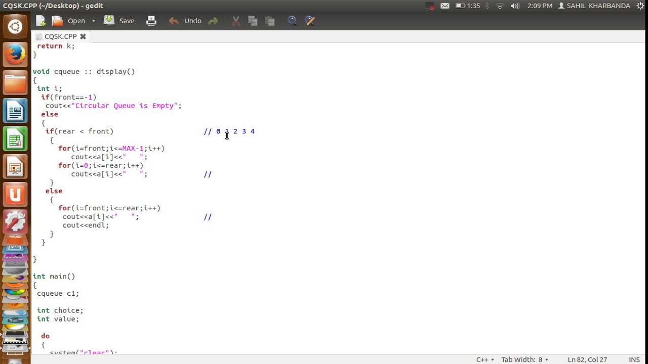 C++ Data Structures: Queue operations using circular array