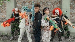 GUGU Nerf War : Perfect Duo CID Dragon Nerf Guns Fight Criminal Group SKMAN Mask Abandoned House
