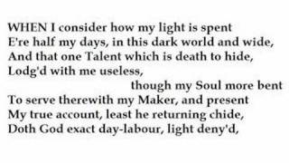 John Milton: When I consider how my light is spent – Sonnet 19