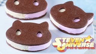COOKIE CAT ICE CREAM SANDWICHES - STEVEN UNIVERSE - NERDY NUMMIES by : Rosanna Pansino