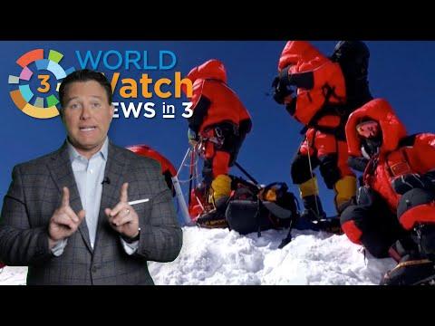 News In 3: Moon Mission, Space Trash, Mt. Everest, Stocks Restart, Locust Plague, Mini-masks
