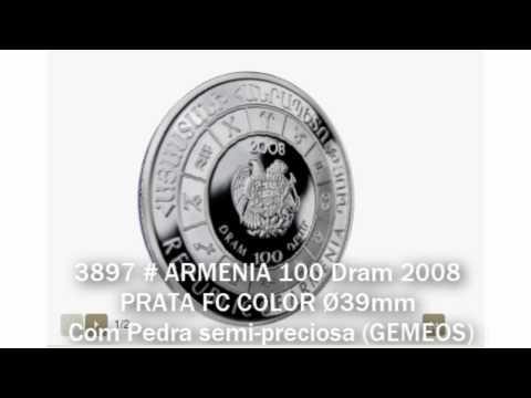 3897 # ARMENIA 100 Dram 2008 PRATA FC COLOR Ø39mm C/ Pedra Semi-preciosa (GEMEOS)