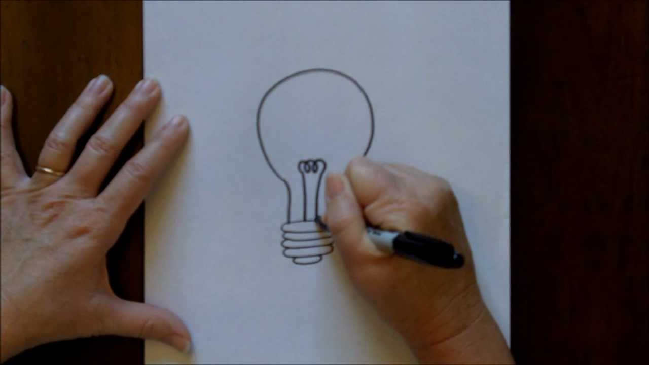 How to Draw a Lightbulb Cartoon Easy Drawing Tutorial for ...