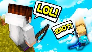Salty Player Calls Me an Idiot... THEN FALLS INTO THE VOID! (Minecraft Skywars)