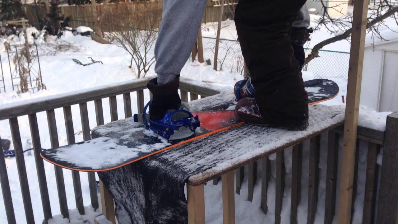 Backyard BOARD PARK! Snowboard deck launch! - YouTube