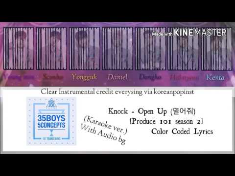 Knock - Open up (열어줘) [Produce 101 season 2][Karaoke ver.] Color Coded Lyrics [Instrumental /Kpop]