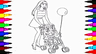 Coloring Pages BARBIE and Chelsea In the Stroller Coloring Book Videos For Children Learning Colors