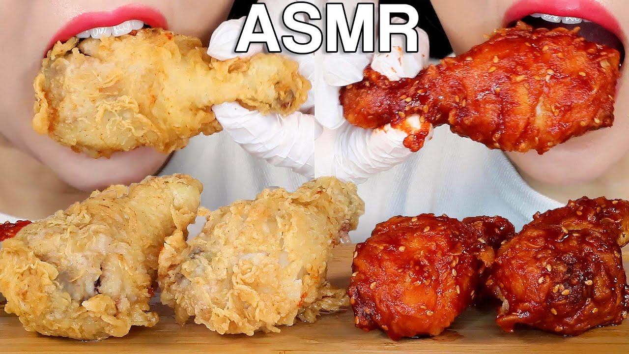 ASMR Korean Fried Chicken 후라이드, 양념 치킨 먹방 (홈메이드 Homemade) Eating Sounds Mukbang