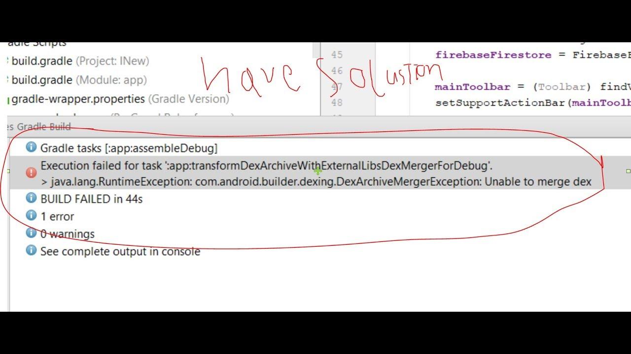 app:transformDexArchiveWithExternalLibsDexMergerForDebug,Unable to merge dex